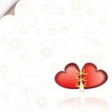 La priorità bassa romantica con due ha connesso i cuori rossi illustrazione vettoriale