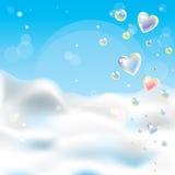 La priorità bassa romantica con scintillio trasparente sente illustrazione vettoriale