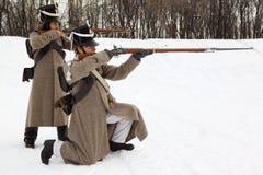 La prise de deux soldats visent la reconstruction historique Photos libres de droits