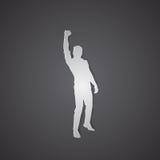 La prise excitée par silhouette d'homme d'affaires remet vers le haut des bras augmentés, succès de gagnant de concept illustration stock