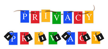La privacidad de Google colorea la bandera Fotografía de archivo