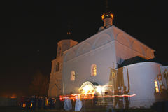 La procesión en la noche de Pascua Fotos de archivo libres de regalías