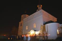 La processione sulla notte di Pasqua Fotografie Stock Libere da Diritti