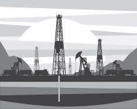 La producción de aceite de un pozo perforó adentro la tierra stock de ilustración