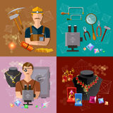 La producción de joyero de la joyería en el trabajo jewels los pendientes stock de ilustración
