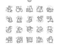 La produzione delle terraglie Ben-ha elaborato la linea sottile la griglia 2x delle icone 30 di vettore perfetto del pixel per i  illustrazione vettoriale