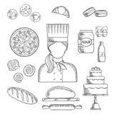 La profession et la pâtisserie de Baker ont esquissé des icônes Images libres de droits