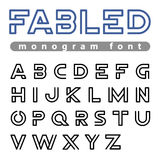 La progettazione ABC lineare dell'alfabeto di vettore di Logo Font descrive il carattere Fotografia Stock Libera da Diritti