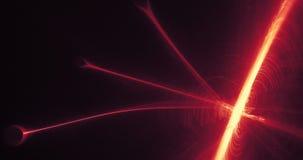 La progettazione astratta rossa e gialla allinea le particelle delle curve stock footage