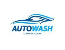 La progettazione automobilistica di logo dell'autolavaggio con l'estratto mette in mostra la siluetta del veicolo Fotografia Stock