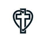 La progettazione concettuale di logo di Dio Christian Love si è combinata con Christia royalty illustrazione gratis