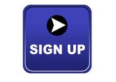 La progettazione creativa firma sul fondo variopinto di bianco del bottone di web illustrazione vettoriale