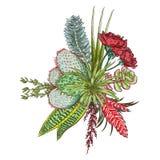 La progettazione del mazzo floreale, fa il giardinaggio fiore rosa rosa-rosso, si ramifica verde royalty illustrazione gratis