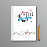 La progettazione del modello del libro di viaggio intorno al mondo può essere usata per la copertina di libro, m. Fotografia Stock