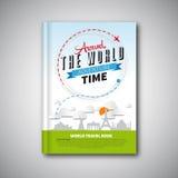 La progettazione del modello del libro di viaggio intorno al mondo, può essere usata per la copertina di libro, m. Immagini Stock