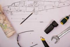 La progettazione del modello dell'elicottero disegno dell'elicottero fotografie stock libere da diritti