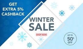 La progettazione del modello dell'insegna di vendita dell'inverno con neve si sfalda fino a 50% fuori Vendita eccellente, estremi immagine stock