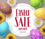 La progettazione del modello dell'insegna di vettore di vendita di Pasqua con le uova variopinte, i fiori della molla e la vendit illustrazione di stock