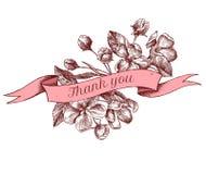 La progettazione del nastro dei fiori della mela con vi ringrazia canta Illustrazione disegnata a mano di vettore illustrazione vettoriale