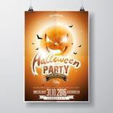 La progettazione dell'aletta di filatoio del partito di Halloween di vettore con gli elementi tipografici e la zucca moon su fond Fotografia Stock Libera da Diritti