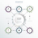 La progettazione dell'etichetta del cerchio di Infographic 3D di vettore con le frecce firma e 6 opzioni o punti Immagini Stock