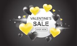 La progettazione dell'insegna di vendita con cuore giallo e nero 3D balloons su fondo scuro Giorno di Valentineâs Fotografie Stock Libere da Diritti