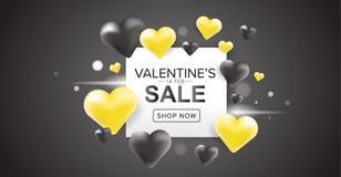 La progettazione dell'insegna di vendita del giorno di Valentine's con cuore giallo e nero 3D balloons su fondo scuro Immagini Stock Libere da Diritti