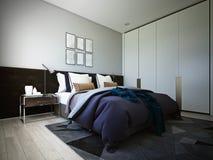 La progettazione della camera da letto, interno di stile moderno accogliente, 3d rappresentazione, illustrazione 3d illustrazione di stock