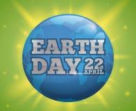 La progettazione della celebrazione di giornata per la Terra con il mondo blu ed emette luce, illustrazione di vettore Immagine Stock
