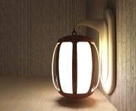 La progettazione della lanterna nella stanza di legno in 3D rende l'immagine Fotografie Stock Libere da Diritti