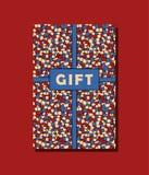 La progettazione di carta d'annata del regalo di vettore rossa, blu e beige con le mattonelle decorative asimmetriche mura il fon Fotografia Stock Libera da Diritti