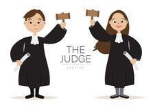 La progettazione di Cartoon Character del giudice con la tenuta il martello per il giudice e la giustizia, Immagini Stock Libere da Diritti