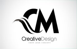 La progettazione di lettere di cm la C la m. Creative Brush Black con mormora Fotografia Stock
