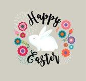 La progettazione di Pasqua con banny sveglio e manda un sms a, illustrazione disegnata a mano Immagine Stock
