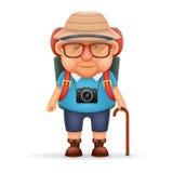 La progettazione di personaggio dei cartoni animati realistica di vecchio di viaggiatore con zaino e sacco a pelo dell'uomo della Immagine Stock Libera da Diritti