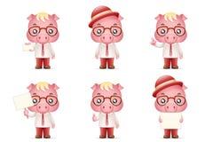 La progettazione di personaggio dei cartoni animati realistica sveglia di Man 3d dell'uomo d'affari del maiale dei maiali ha isol Immagine Stock