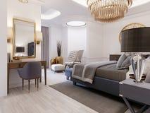 La progettazione di una camera da letto lussuosa in uno stile contemporaneo con un letto blu e le pareti bianche Poltrona con il  illustrazione vettoriale