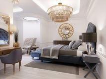 La progettazione di una camera da letto lussuosa in uno stile contemporaneo con un letto blu e le pareti bianche Poltrona con il  royalty illustrazione gratis