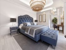 La progettazione di una camera da letto lussuosa in uno stile contemporaneo con un letto blu e le pareti bianche Poltrona con il  illustrazione di stock