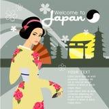 La progettazione di vettore della geisha Illustrazione e fondo Fotografia Stock Libera da Diritti