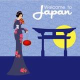 La progettazione di vettore della geisha Illustrazione e fondo Immagine Stock Libera da Diritti