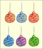 La progettazione di vettore della palla di Natale per invita illustrazione vettoriale