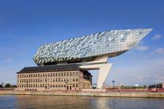 La progettazione di Zaha Hadid, porto di Anversa acquartiera all'alba, Anversa, Belgio Immagine Stock Libera da Diritti