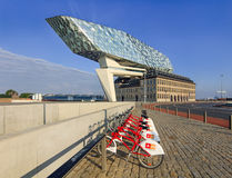 La progettazione di Zaha Hadid, porto di Anversa acquartiera all'alba, Anversa, Belgio Fotografia Stock