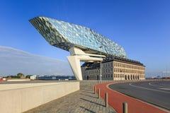 La progettazione di Zaha Hadid, porto di Anversa acquartiera all'alba, Anversa, Belgio Immagini Stock