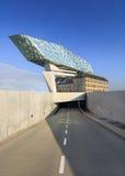 La progettazione di Zaha Hadid, porto di Anversa acquartiera all'alba, Anversa, Belgio Immagine Stock