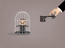 La progettazione grafica dell'uomo di affari è sfuggito a dal birdcage dalla chiave di idea Fotografia Stock