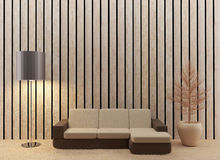 La progettazione interna del salone in 3D rende l'immagine Immagini Stock Libere da Diritti