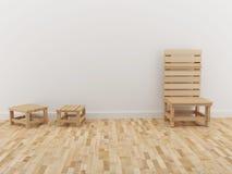 La progettazione interna della stanza e la sedia di legno in 3D rendono Fotografie Stock