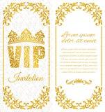 La progettazione lussuosa dell'aletta di filatoio Iscrizione VIP del modello decorativo floreale su un fondo bianco Fotografie Stock